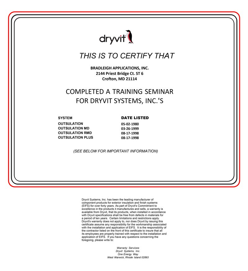 Bradleigh Applications ,Inc. Dryvit Certification