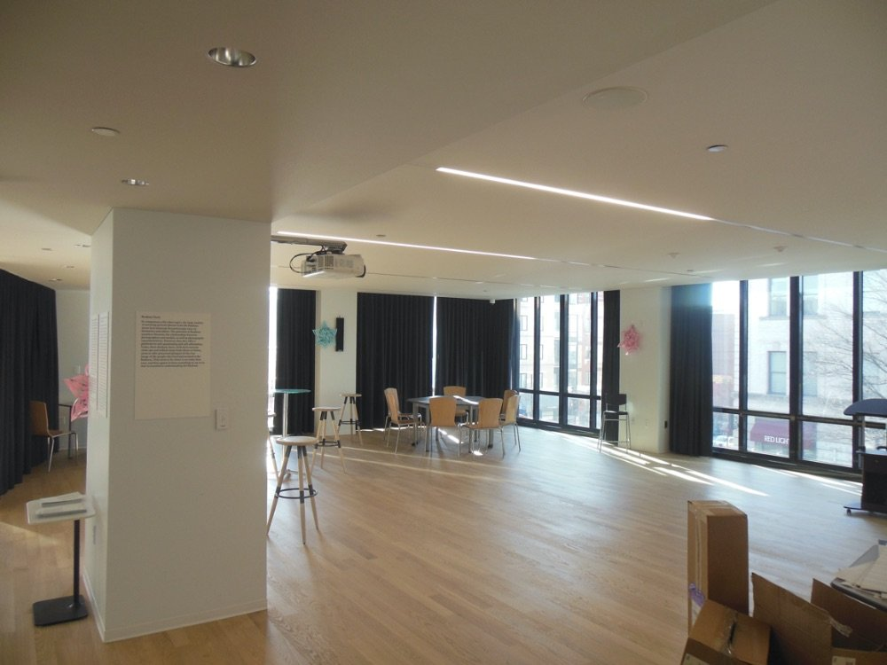 Goethe Institute 25mm StarSilent by Pyrok Acoustical plaster install by Bradleigh Applications, Inc.
